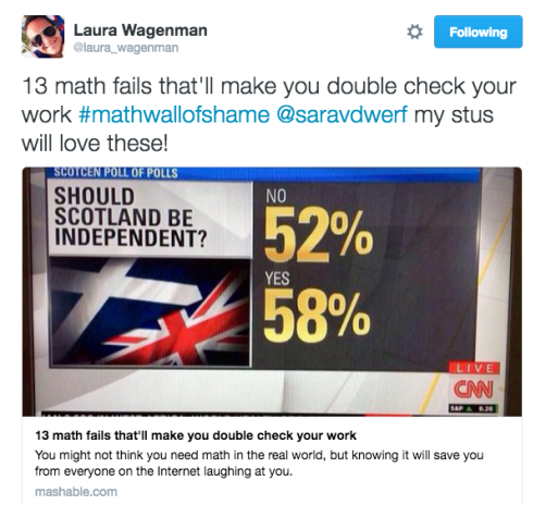 Laura Wagenman - 13 math fails